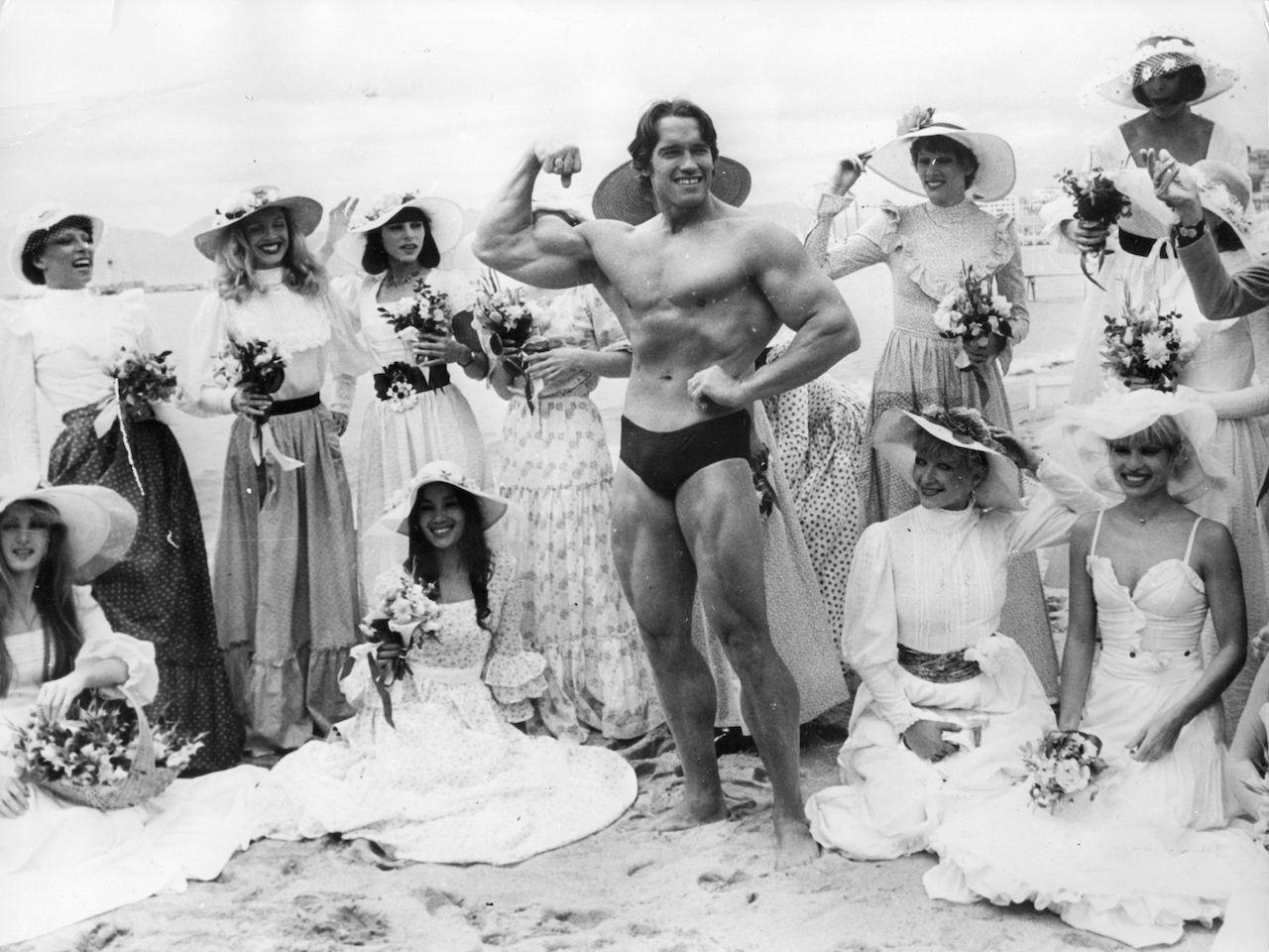 Arnold Schwarzenegger on Cannes beach during the Film Festival