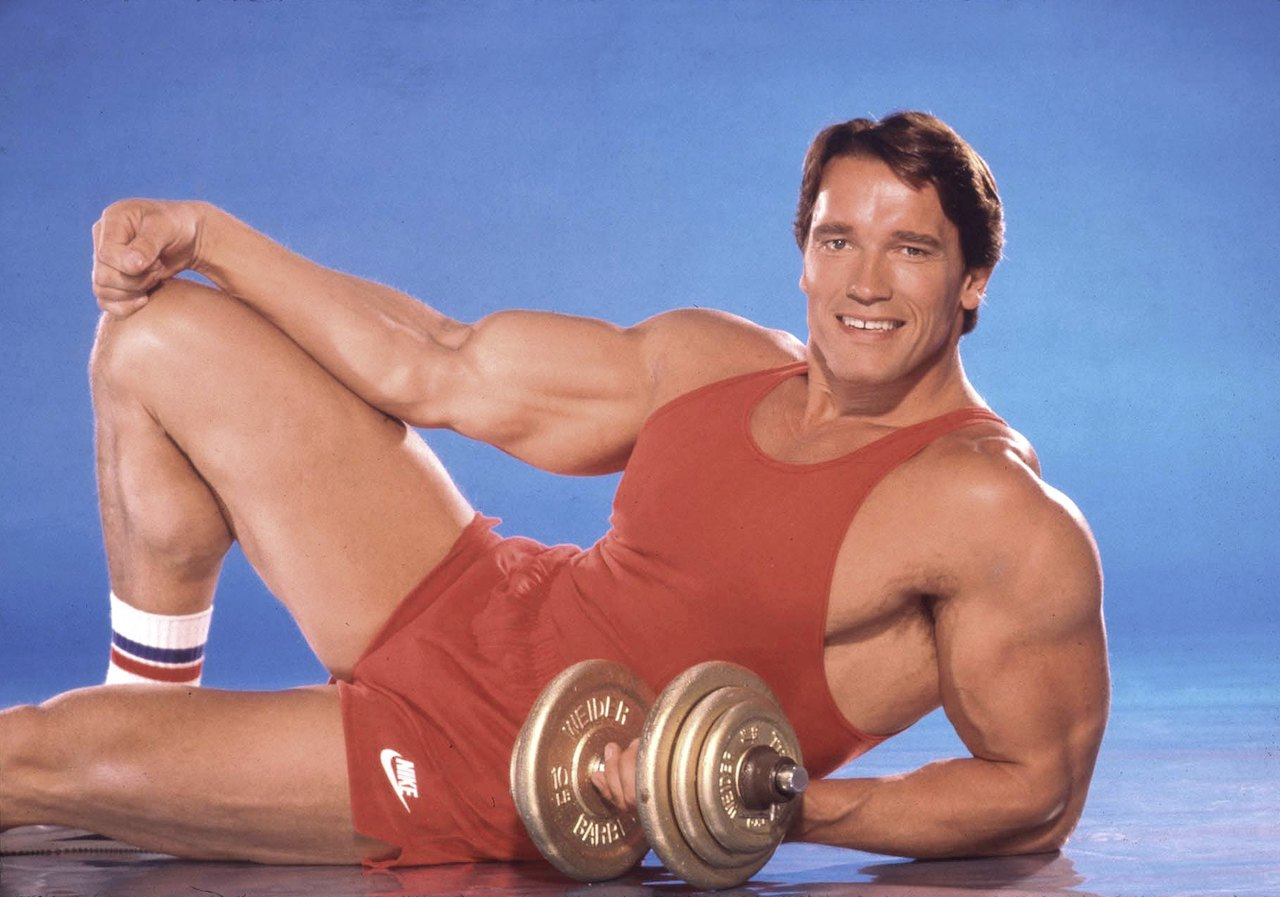 Arnold Schwarzenegger poses for a portrait session in 1985 in Los Angeles, California