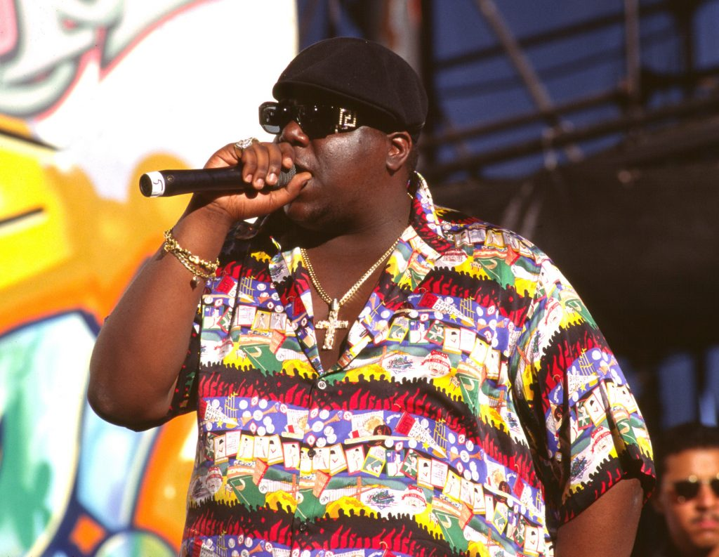 The Notorious B.I.G. with a microphone