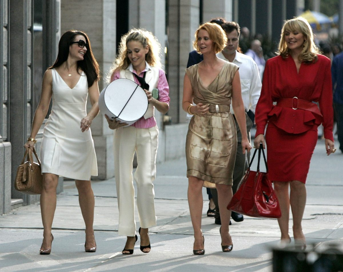 """Actresses Kristin Davis as """"Charlotte,"""" Sarah Jessica Parker as """"Carrie Bradshaw,"""" Cynthia Nixon as """"Miranda,"""" and Kim Cattrall as """"Samantha"""" on location for """"Sex and the City: The Movie"""""""