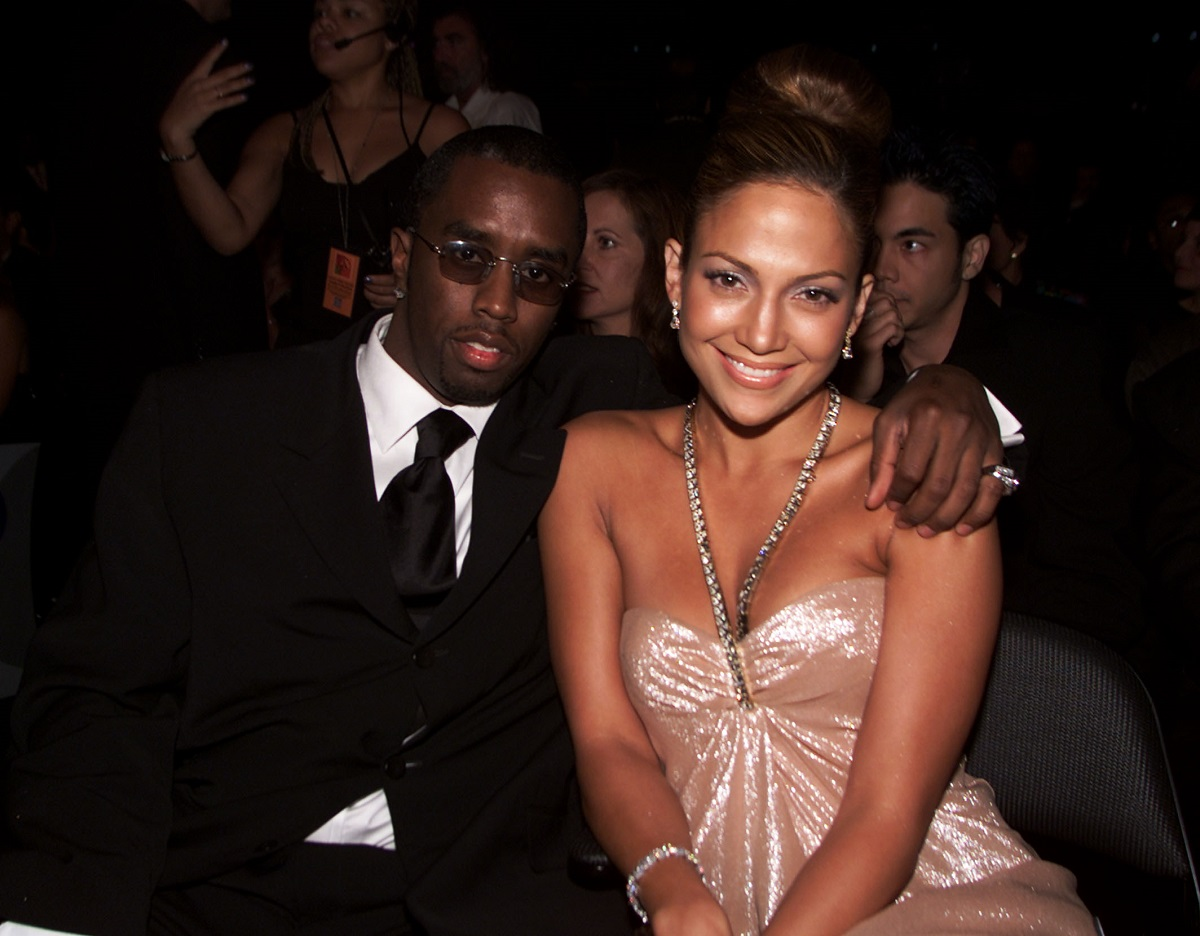 Sean 'Puffy' Combs with Jennifer Lopez in the audience at the 1st Annual Latin Grammy Awards on September 13, 2000, in Los Angeles, CA.