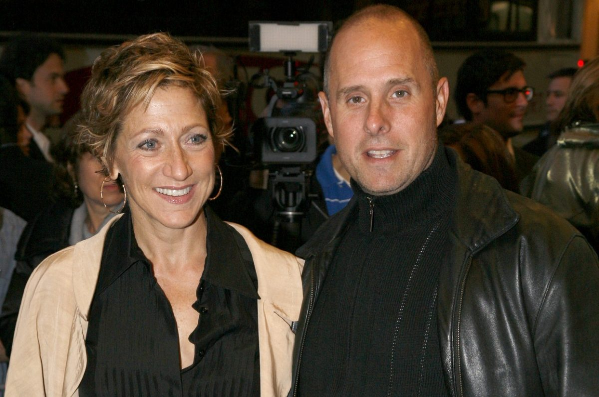 Edie Falco and Paul Schulze pose together at a 2009 Broadway opening event