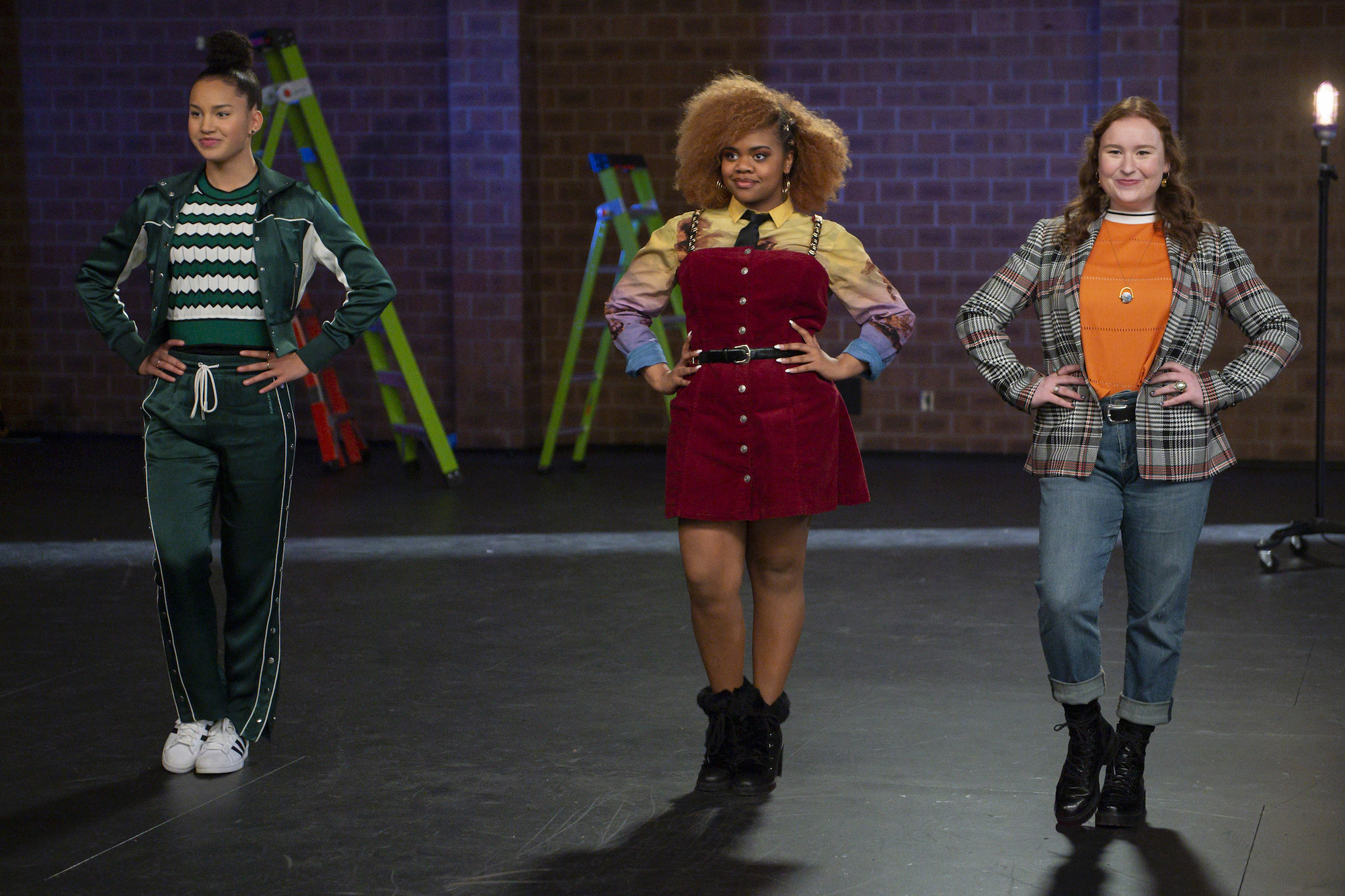 Sofia Wylie as Gina, Dara Reneé as Kourtney, and Julia Lester as Ashlyn in Episode 2 of 'High School Musical: The Musical: The Series' Season 2 | Disney+/Fred Hayes