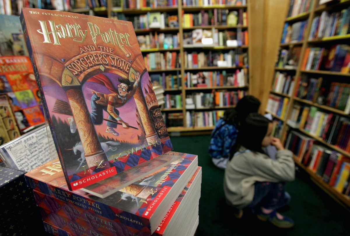 Copies of Harry Potter books stand on display at the Clean Well-Lighted Place For Books