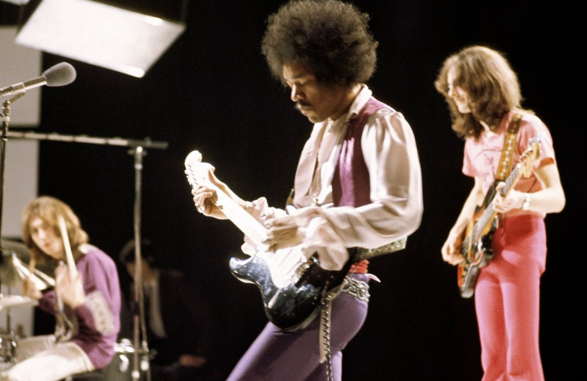 The Jimi Hendrix Experience performs in a TV studio in 1969.
