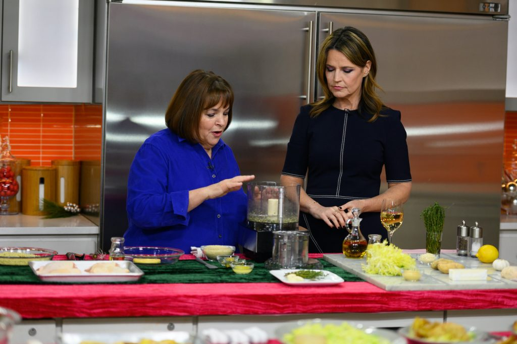 Ina Garten and Savannah Guthrie on the Today show during a cooking segment