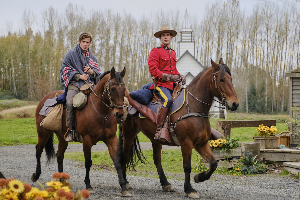Jesse and Nathan on horses in When Calls the Heart