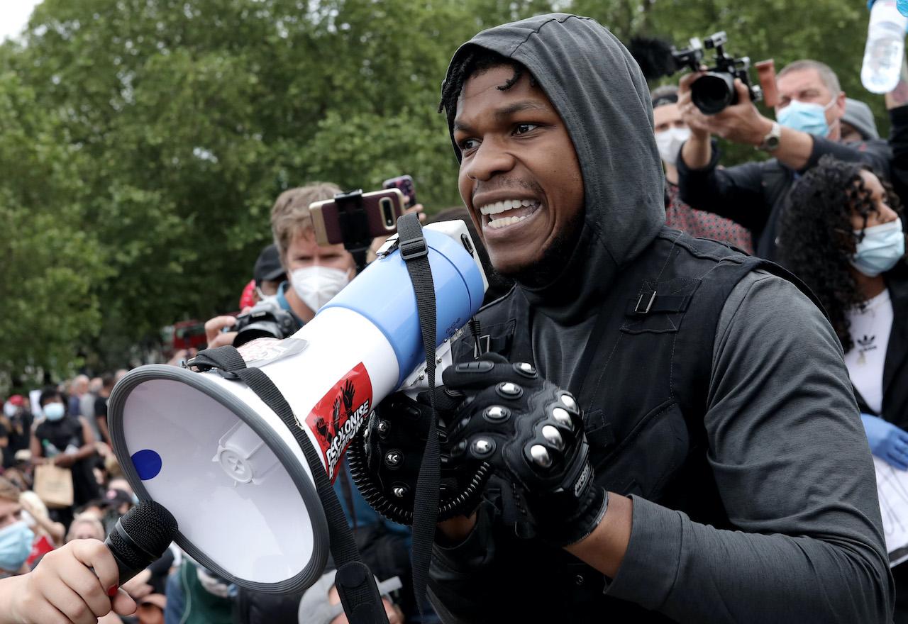 John Boyega speaks to the crowd during a Black Lives Matter protest in Hyde Park, London, United Kingdom.