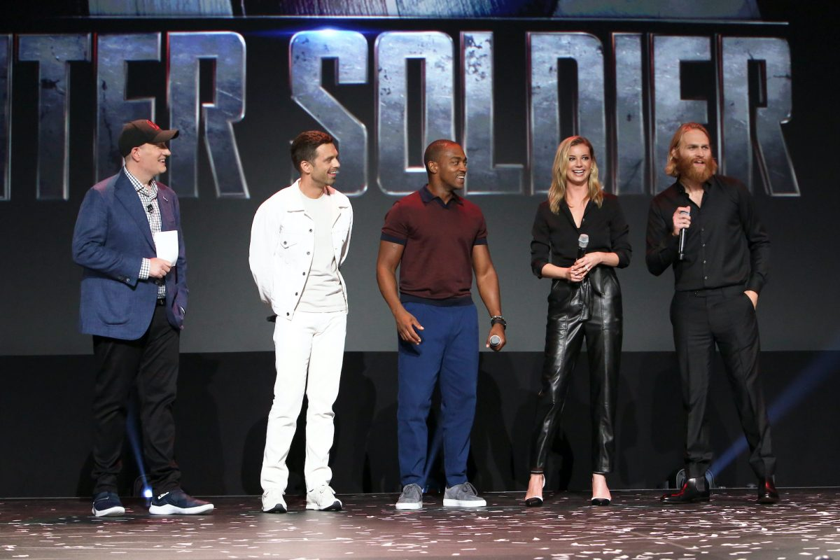 Kevin Feige, Sebastian Stan, Anthony Mackie, Emily VanCamp, and Wyatt Russell of 'The Falcon and The Winter Soldier'