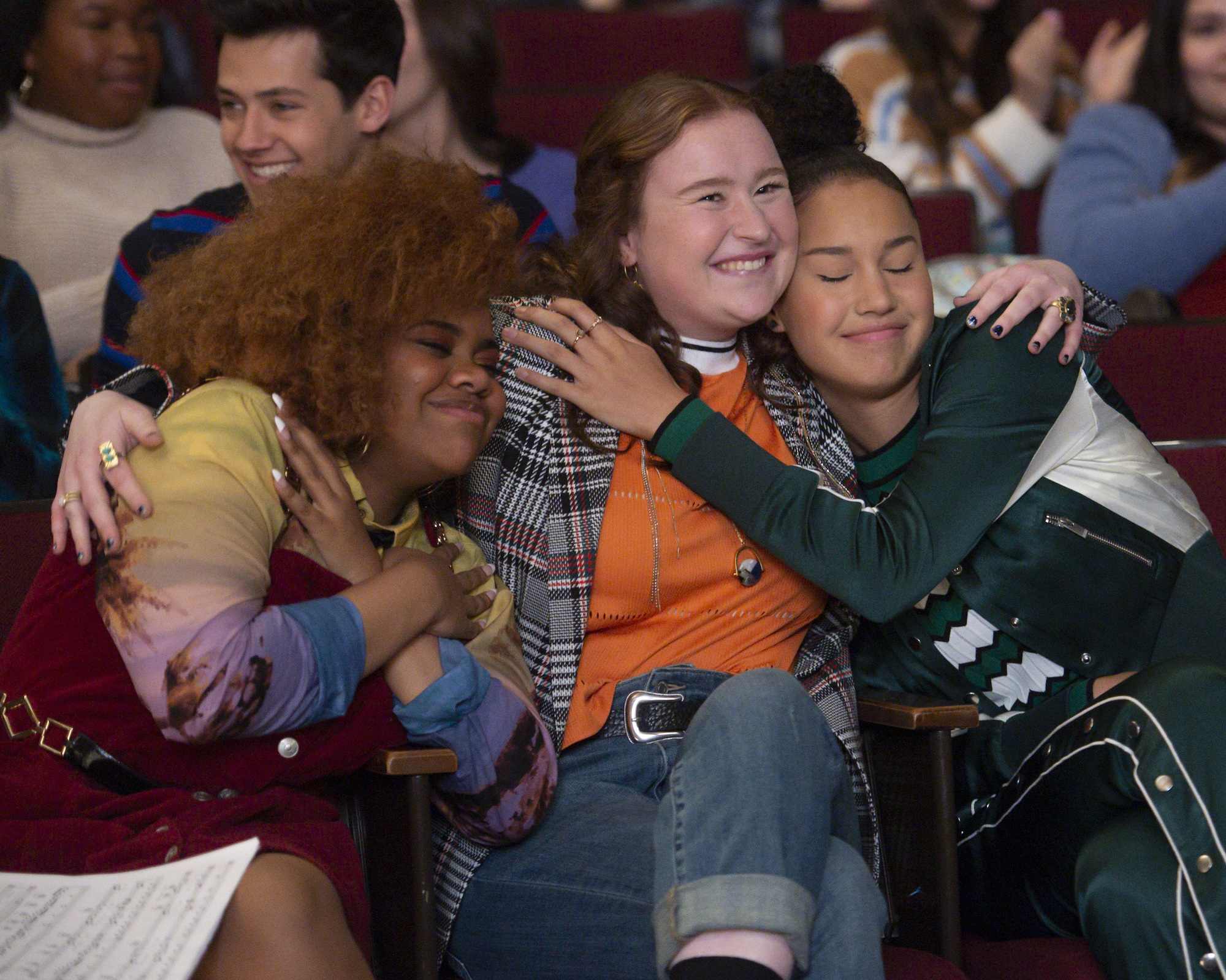 Dara Reneé as Kourtney, Julia Lester as Ashlyn, and Sofia Wylie as Gina in Episode 2 of 'High School Musical: The Musical: The Series' Season 2 | Disney+/Fred Hayes