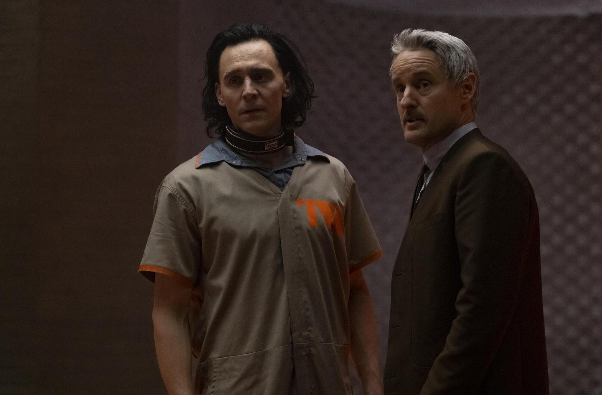 Tom Hiddleston as Loki and Owen Wilson as Mobius M. Mobius in a still from the 'Loki' TV series