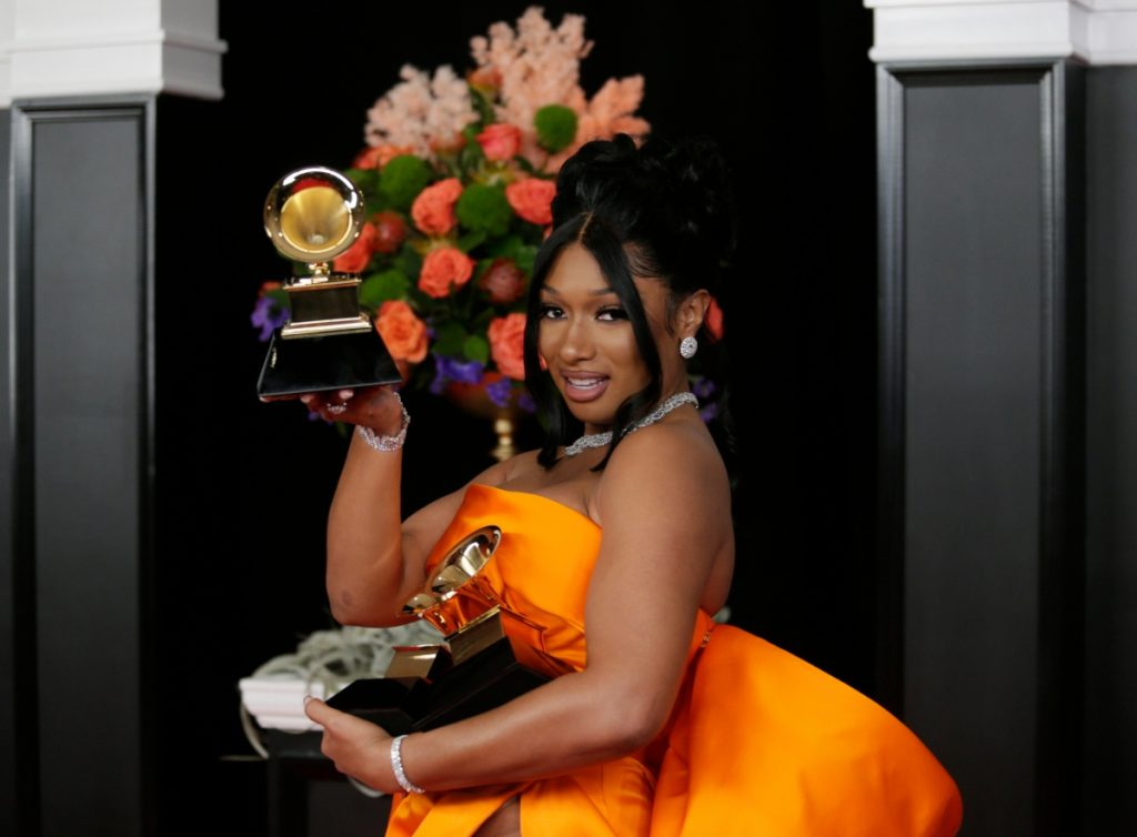 Megan Thee Stallion at that 63rd Annual Grammy Awards, March 2021