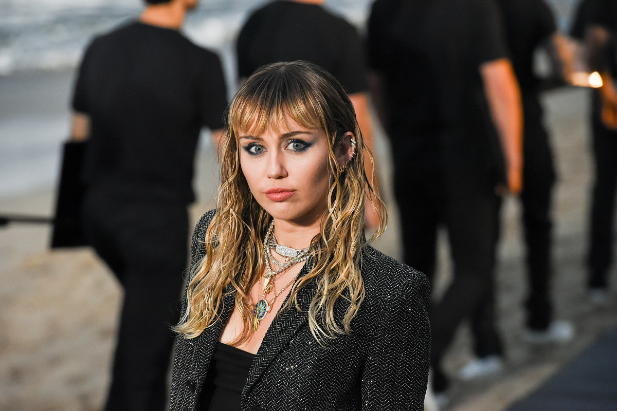 Miley Cyrus poses for cameras in a black outfit on June 06, 2019, in Malibu, California.