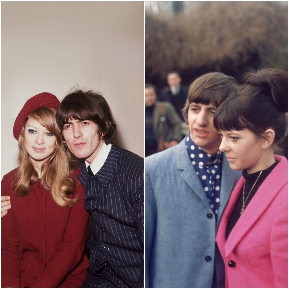 L: Pattie Boyd and George Harrison in 1966; R: Ringo Starr and Maureen Starkey in 1965