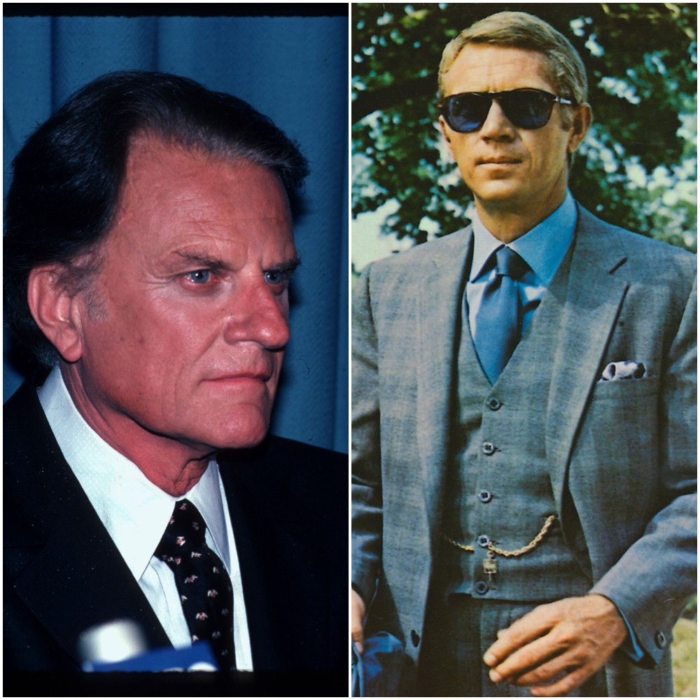 Left to right: Evangelist Billy Graham in 1982 and actor Steve McQueen in a scene from 1968's 'The Thomas Crown Affair'