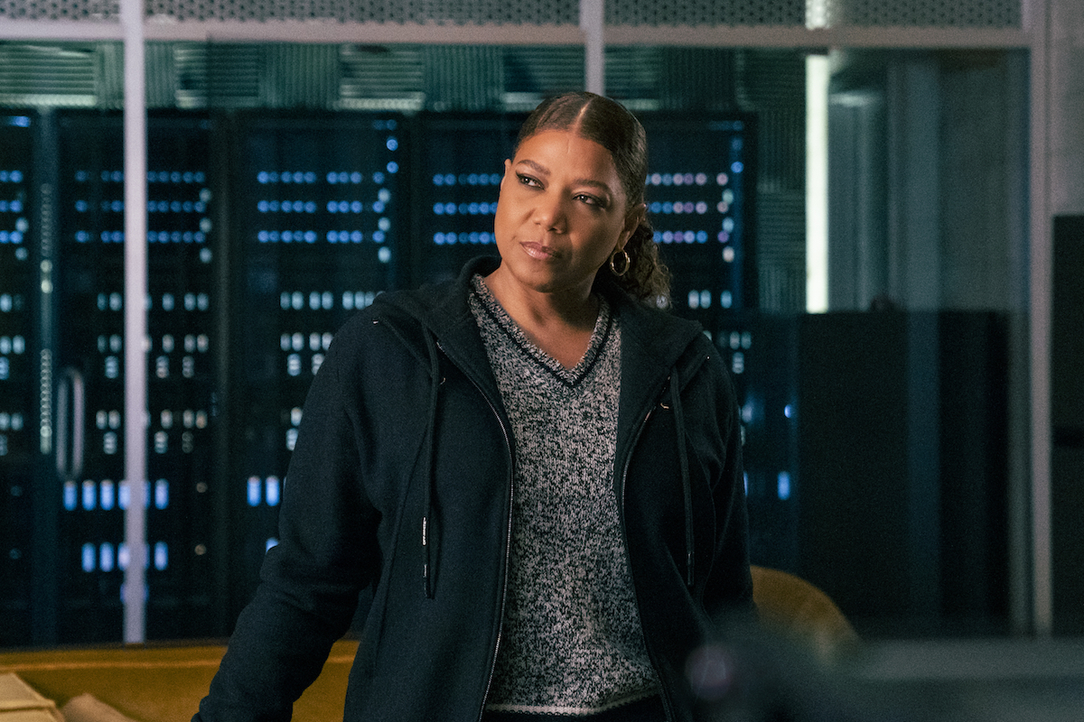 Queen Latifah as Robyn McCall, wearing a black cardigan, in The Equalizer