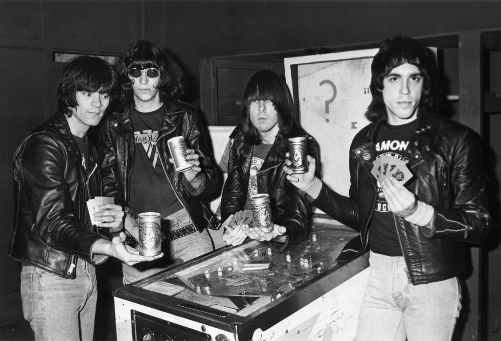 The Ramones with cups