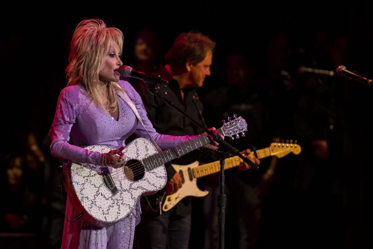 Dolly Parton performing on state at The Gift Of Music Concert