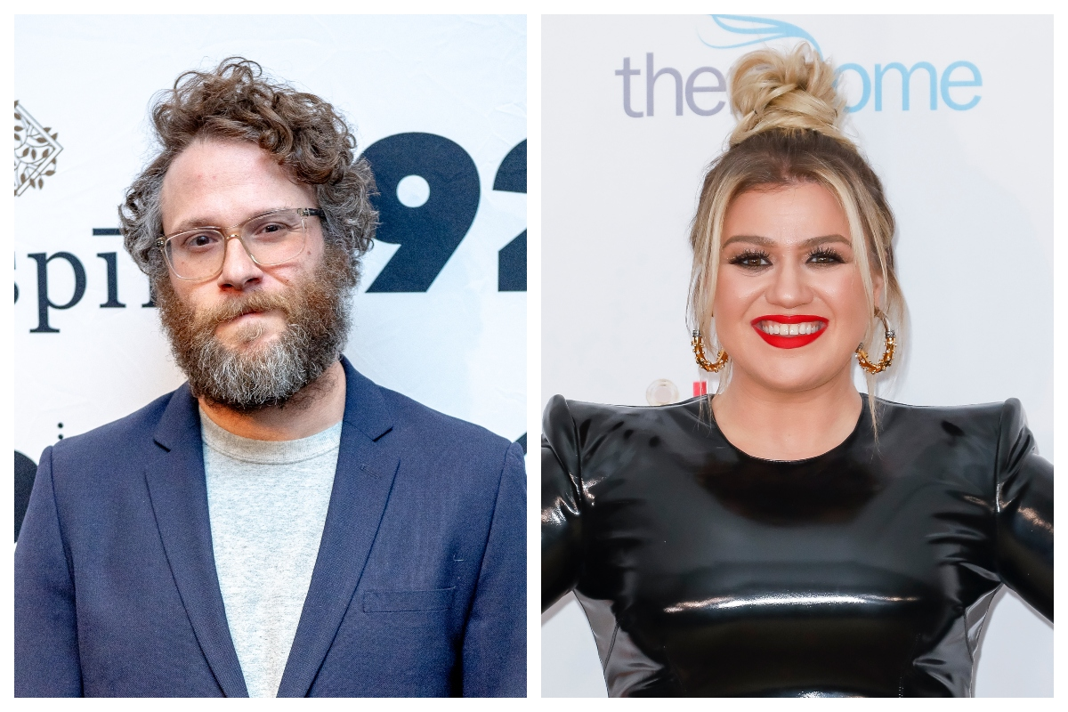 composite image of Seth Rogen and Kelly Clarkson