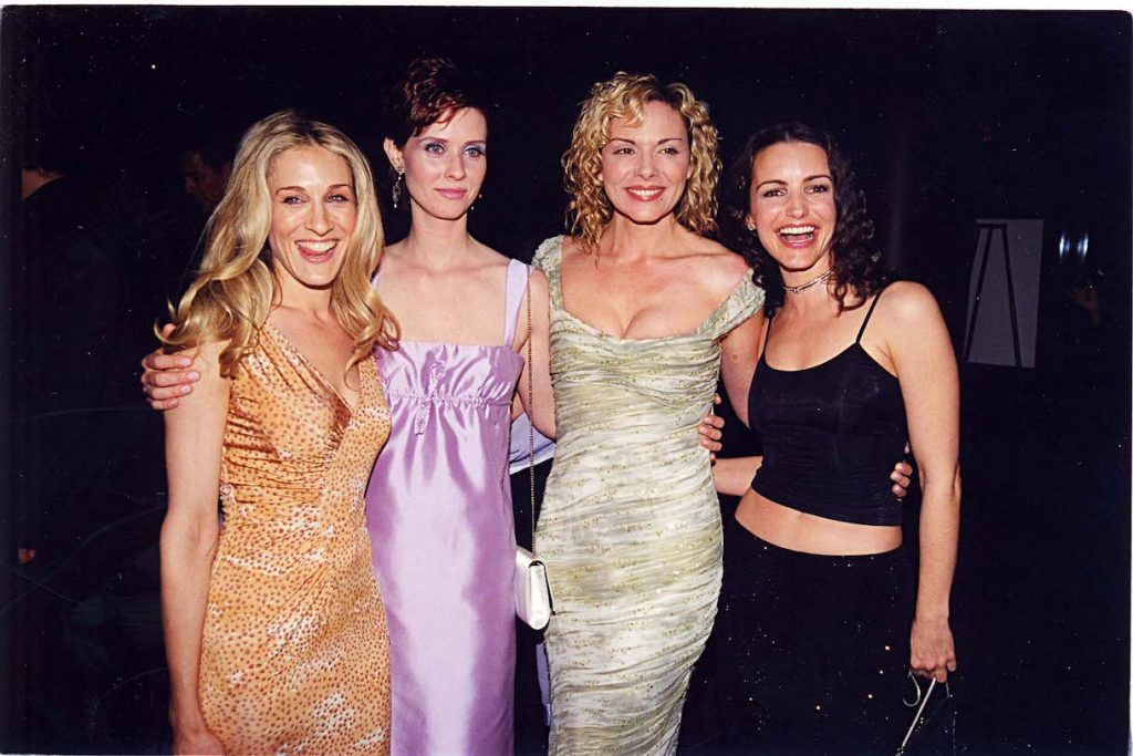 Sarah Jessica Parker, Cynthia Nixon, Kim Cattrall & Kristin Davis at a party for Sex and the City in 1999 at the Skybar in Los Angeles