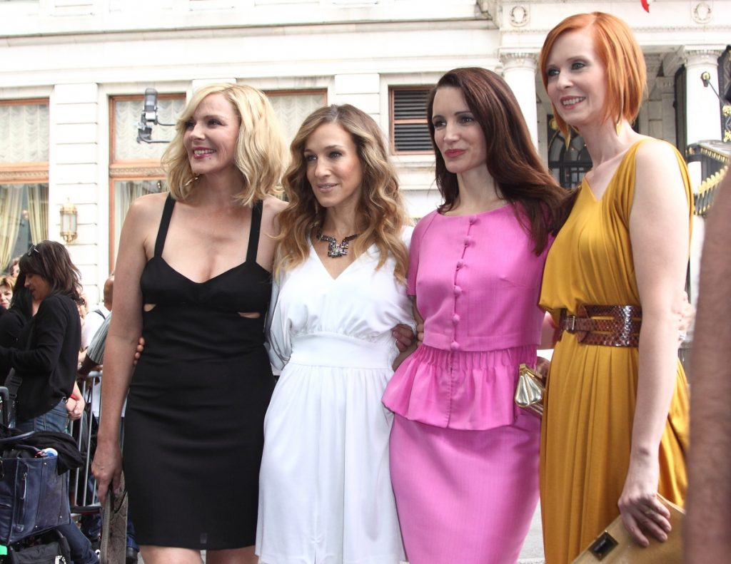 Kim Cattrall, Sarah Jessica Parker, Kristen Davis, and Cynthia Nixon filming on location for 'Sex And The City 2' in Manhattan, New York