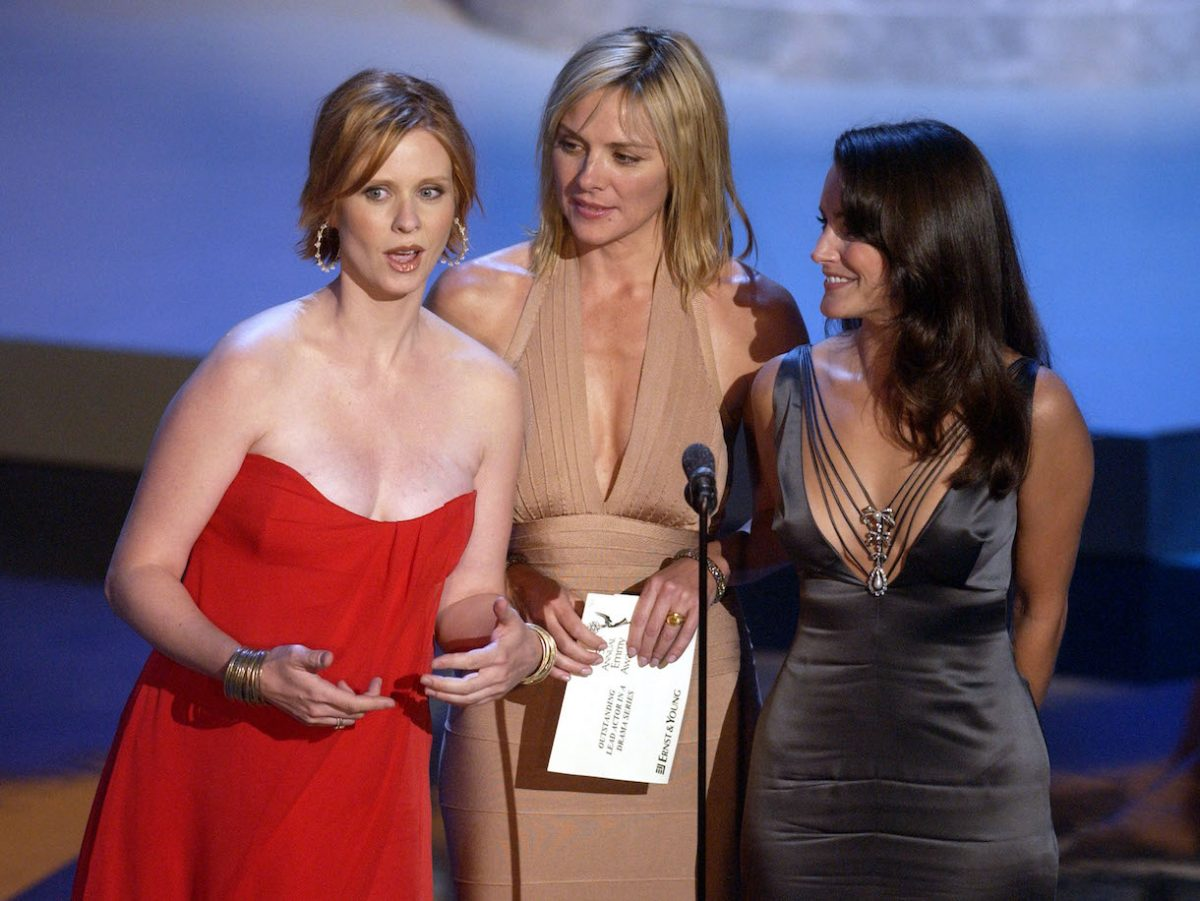 """Cynthia Nixon, Kim Cattrall and Kristin Davis from """"Sex and the City"""" present the Best Actor in a Drama Series at the 54th Annual Emmy Awards"""