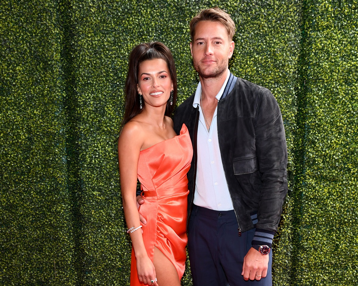(L-R) Sofia Pernas and Justin Hartley attend the 2021 MTV Movie & TV Awards on May 16, 2021, in Los Angeles, California.