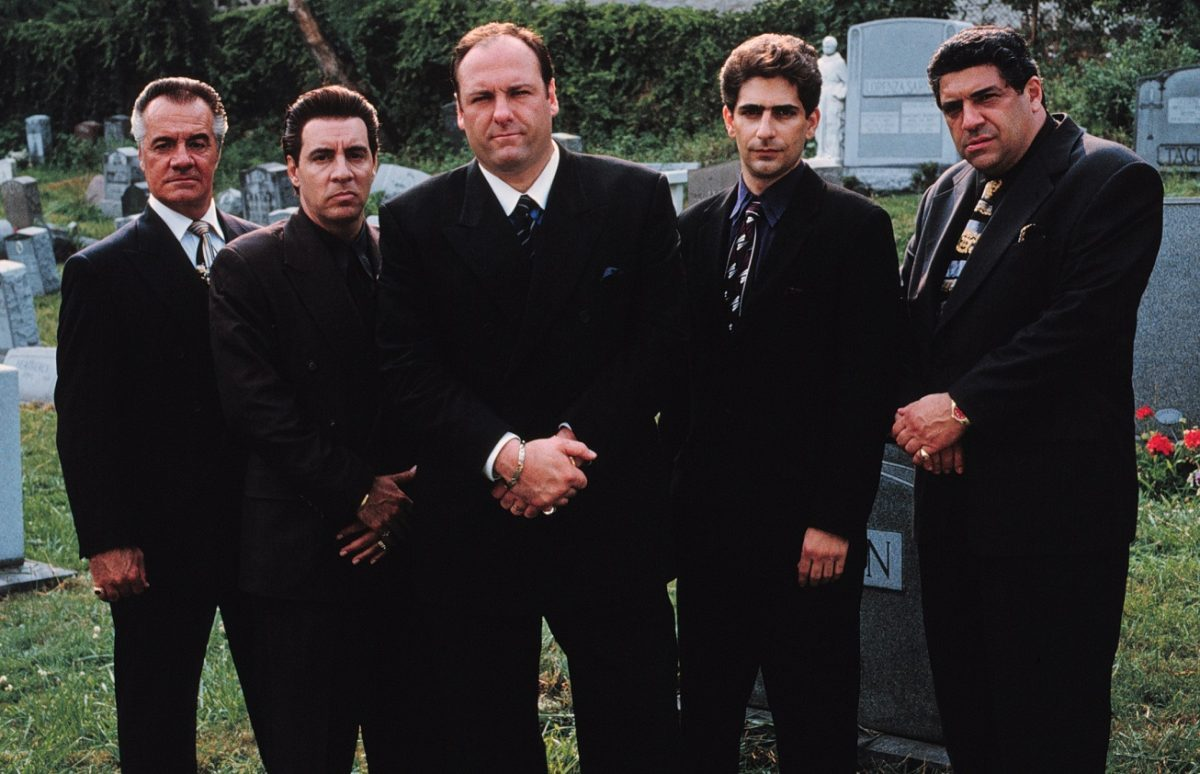 'The Sopranos' main cast members pose together in a cemetery