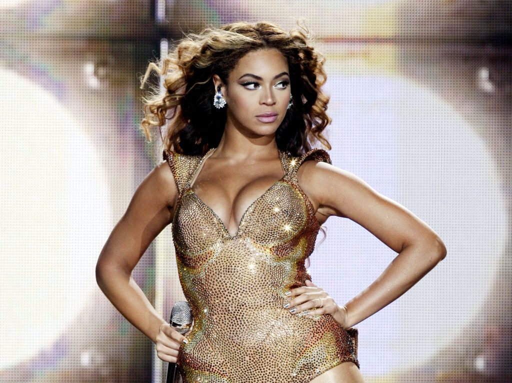 Beyoncé wearing a sparkly outfit