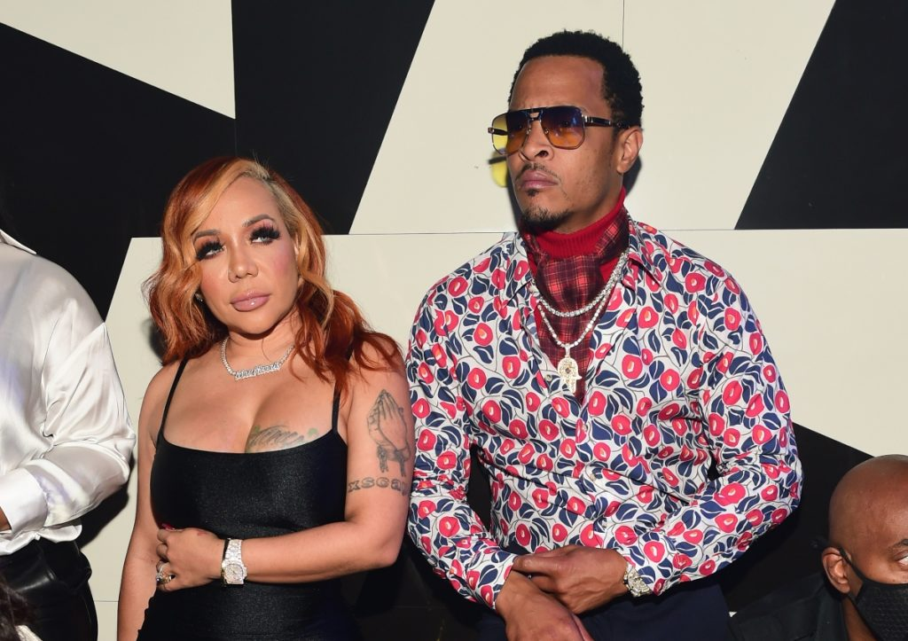 T.I. and Tameka 'Tiny' Harris attend 'LIBRA' Album release Party at Gold Room on October 16, 2020 in Atlanta, Georgia