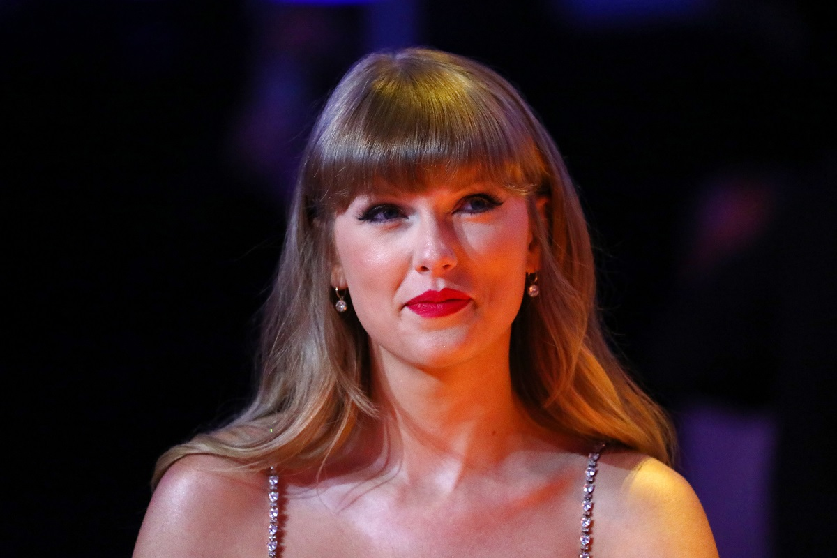 Taylor Swift, winner of the Global icon Award, is seen during The BRIT Awards 2021 on May 11, 2021, in London, England.