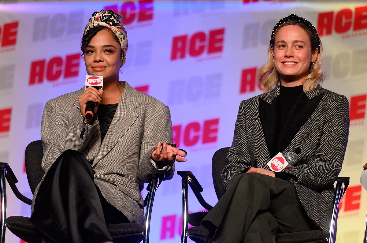 Tessa Thompson and Brie Larson attend ACE Comic Con Midwest on October 12, 2019, in Rosemont, Illinois.