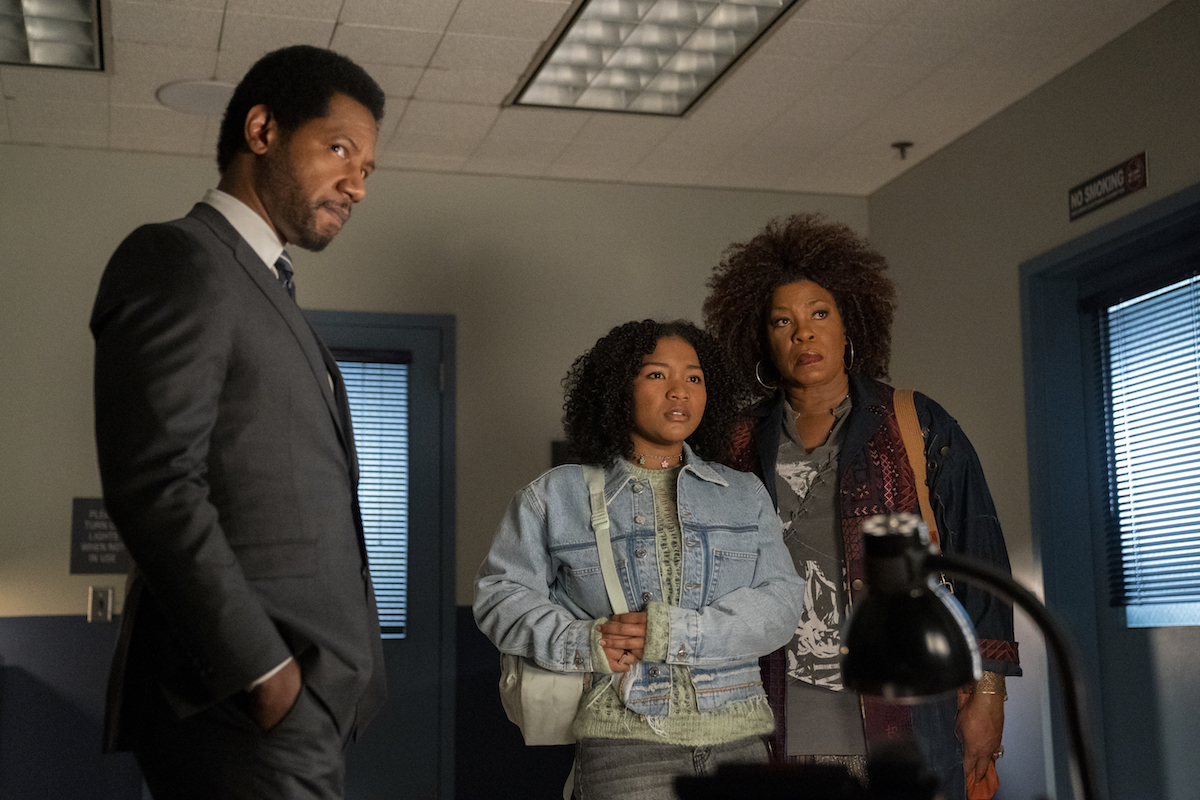 Dante, Delilah, and Vi standing in a room and looking skeptical in The Equalizer