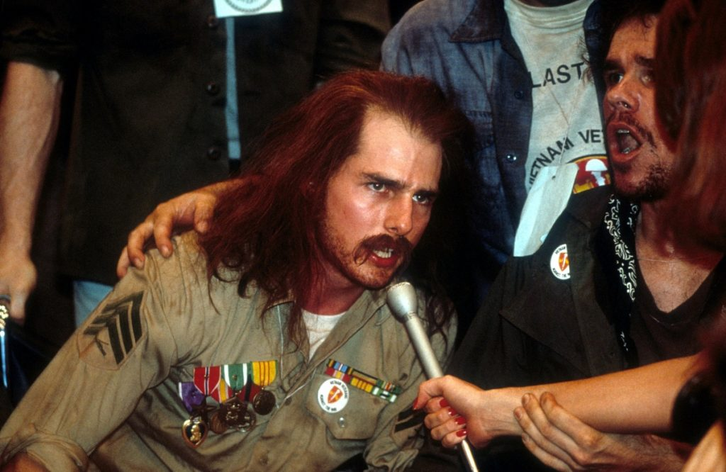 Tom Cruise speaking out for the military veterans in a scene from the film 'Born On The Fourth Of July', 1989