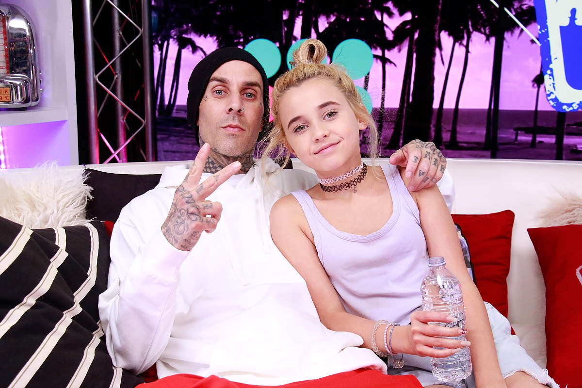 Travis Barker (L) and Alabama Barker visits the Young Hollywood Studio on October 9, 2017, in Los Angeles, California.
