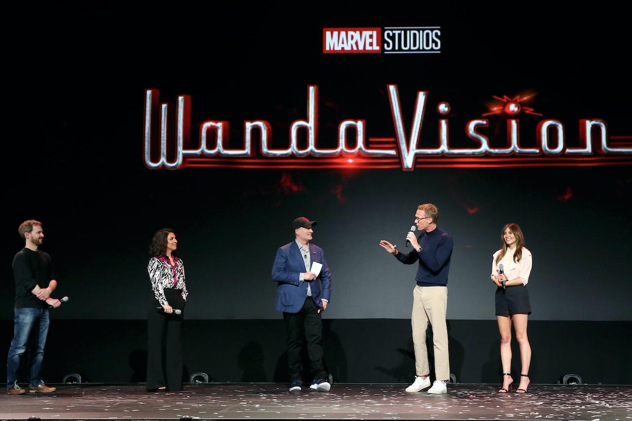(L-R) Director Matt Shakman and Head writer Jac Schaeffer of 'WandaVision,' President of Marvel Studios Kevin Feige, and Paul Bettany and Elizabeth Olsen of 'WandaVision' at the Disney+ Showcase