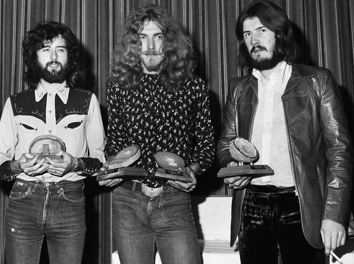Led Zeppelin band members pose with 1970 Melody Maker poll awards