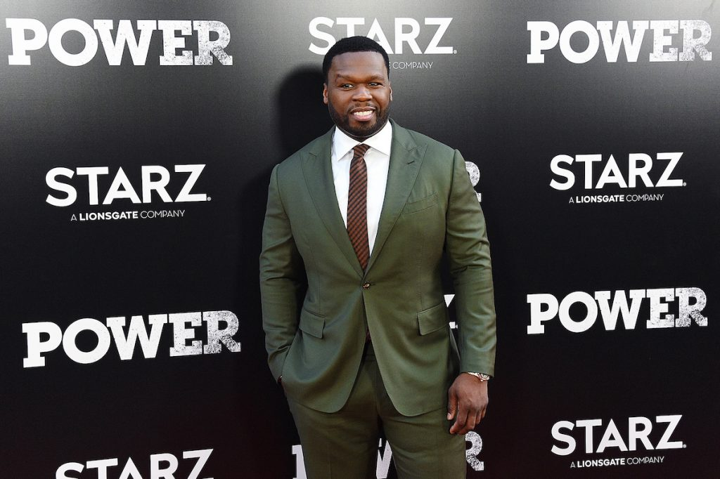 """50 Cent attends the """"POWER"""" Season 5 premiere in a green suit"""
