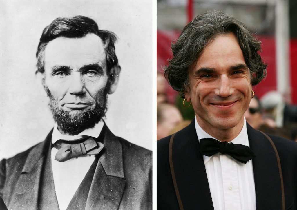 A composite image showing a comparison between Abraham Lincoln and actor Daniel Day-Lewis