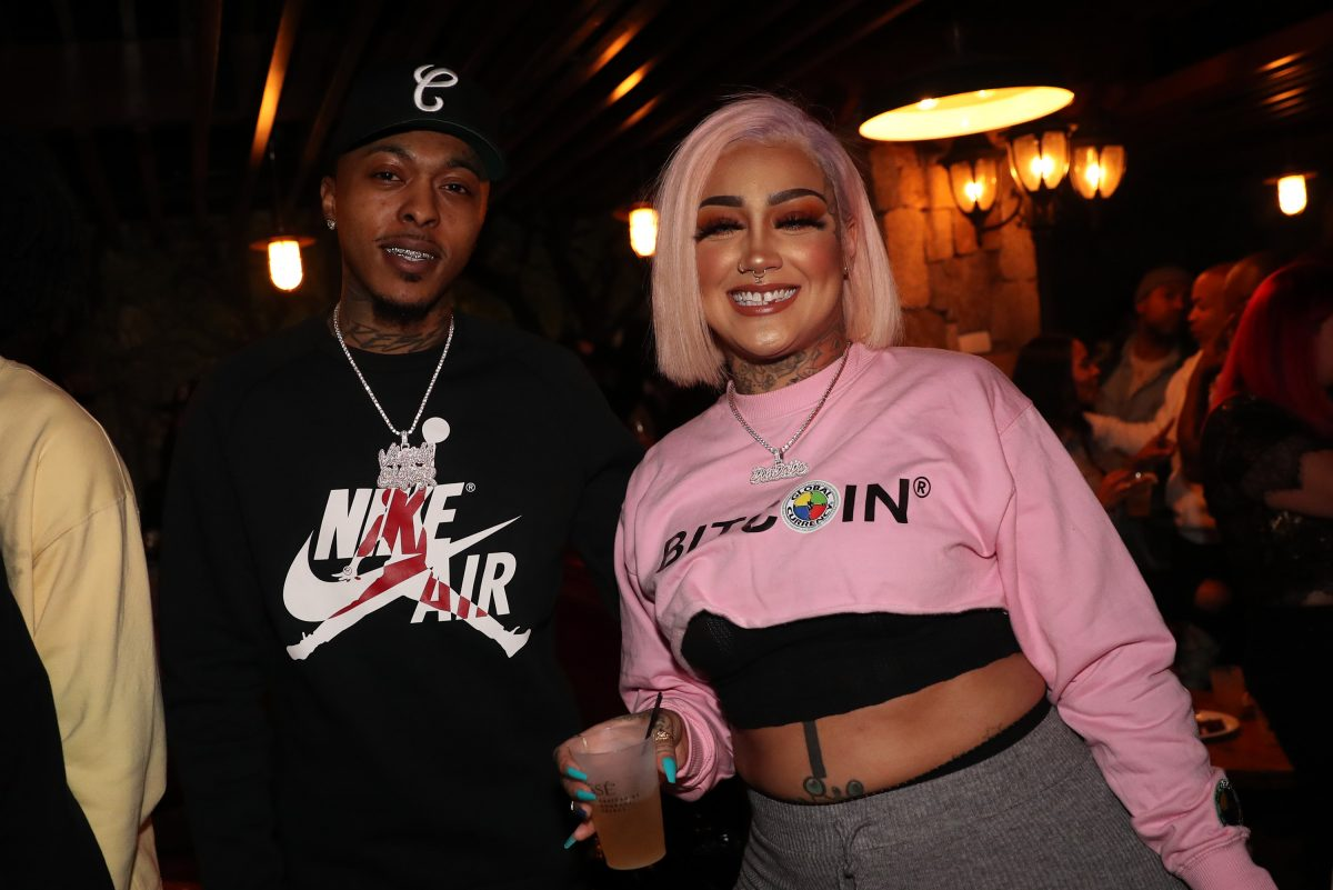 Alex the V Slayer (L) and Donna Marie Lombardi attend Angela Yee's Birthday Party