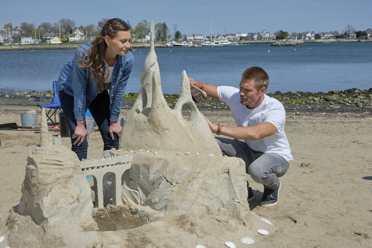 Aly Michalka and Chad Michael Murray building a Sand Castle in Sand Dollar Cove