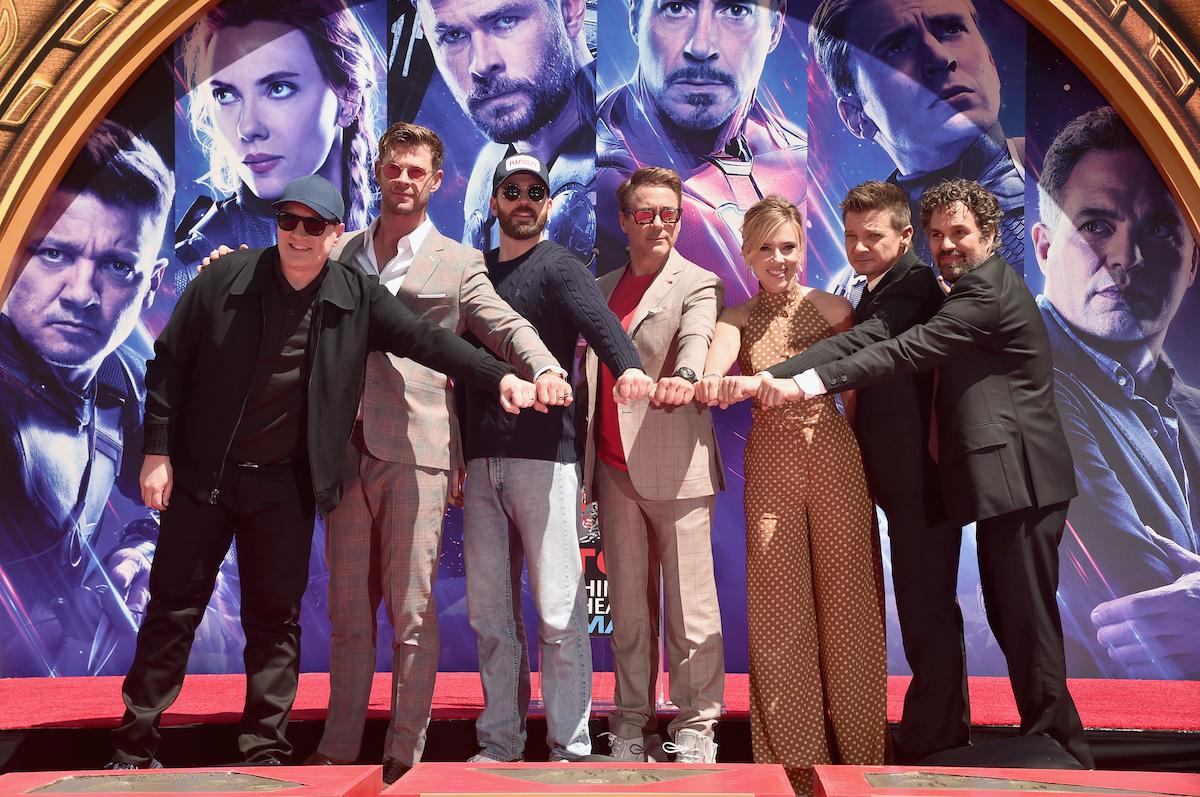 Marvel Studios head Kevin Feige and 'Avengers: Endgame' stars Chris Hemsworth, Chris Evans, Robert Downey Jr., Scarlett Johansson, Jeremy Renner and Mark Ruffalo pose together on stage
