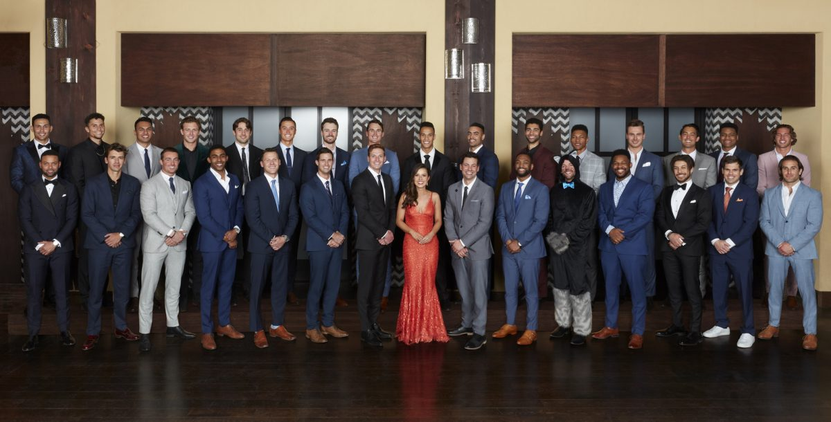 Group photo of 'The Bachelorette' Season 17 cast with Katie Thurston in 2021
