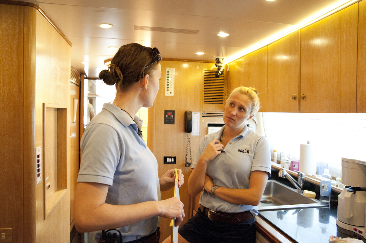 Below Deck Season 1 Adrienne Gang, Kat Held discuss the upcoming dinner service for guests