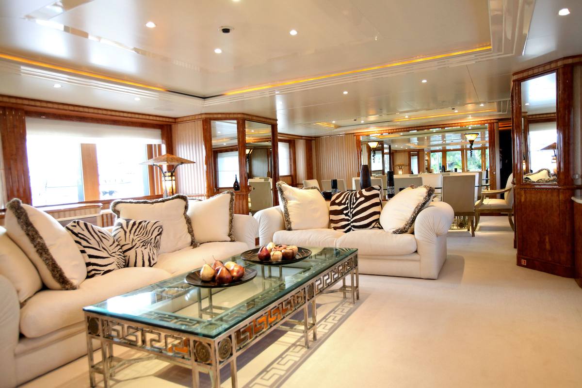 Below Deck Season 1 Honor main salon showing some of the purchased décor on display