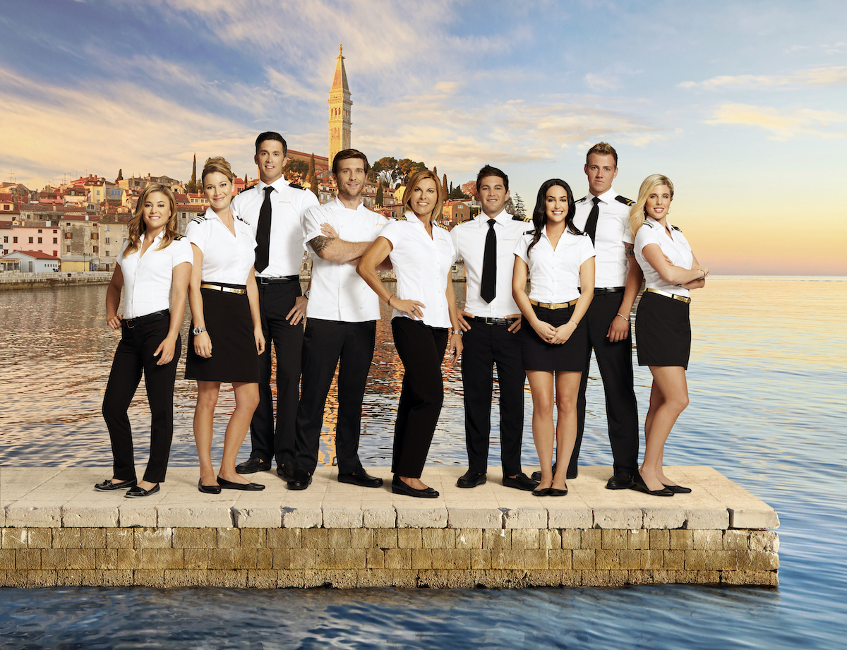 Below Deck Mediterranean Season 2 cast photo of Malia White, Hannah Ferrier, Bobby Giancola, Adam Glick, Sandy Yawn, Wes Walton, Lauren Cohen, Max Hagley, Bugsy Drake