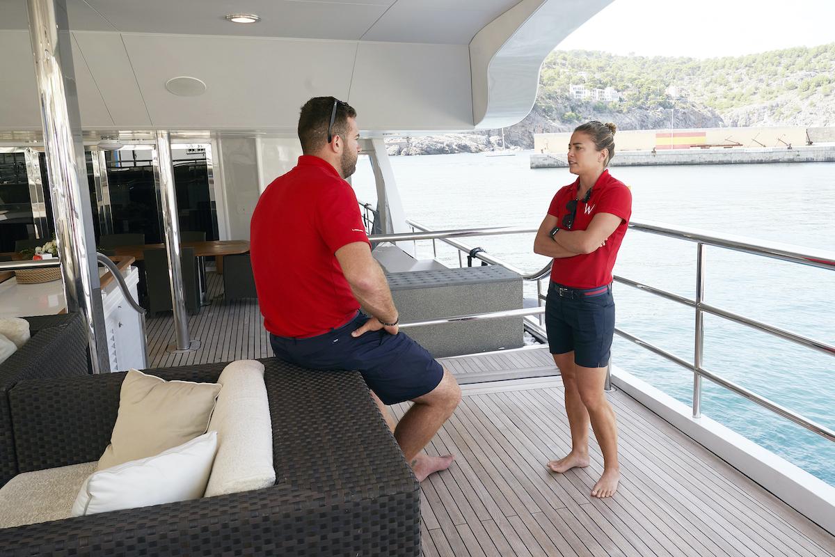 Malia White chats with lead deckhand Alex Radcliffe on Below Deck Mediterranean Season 5