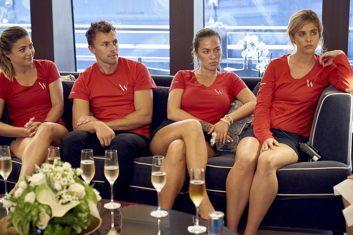Below Deck Mediterranean Season 5 crew during a tip meeting: Malia White, Tom Checketts, Jessica More, Christine 'Bugsy' Drake