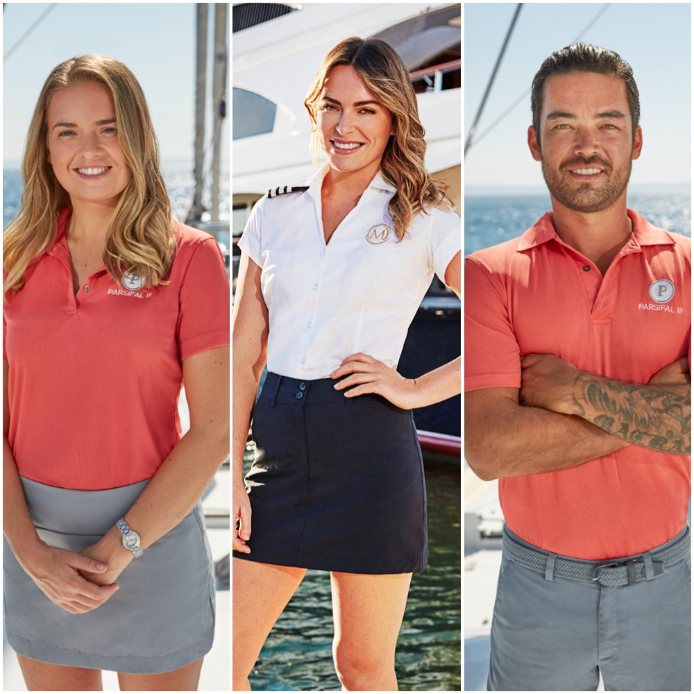 Daisy Kelliher from Below Deck Sailing Yacht, Katie Flood from Below Deck Med and Colin Macrae from Below Deck Sailing Yacht