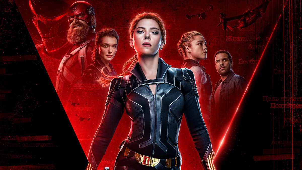 The 'Black Widow' poster art, featuring Scarlett Johansson in a black bodysuit, and the supporting cast